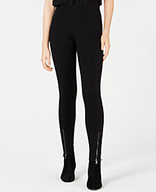 Bar III Zippered-Hem Skinny Pants, Created for Macy's