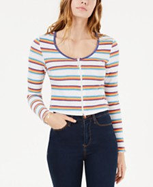 Self Esteem Juniors' Striped Zip-Front Crop Top