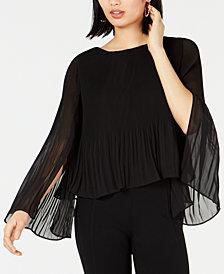Bar III Pleated Split-Sleeve Blouse, Created for Macy's