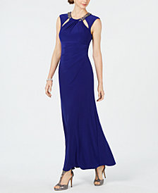 Jessica Howard Rhinestone Cutout Gown