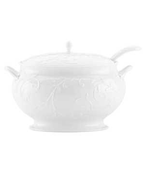 Lenox Serveware Opal Innocence Carved Covered Soup Tureen with Ladle