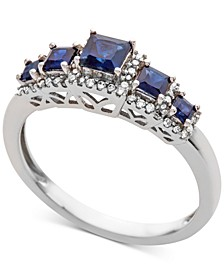 Sapphire (3/4 ct. t.w.) & Diamond (1/6 ct. t.w.) Ring in 14k Gold (Also Available in Emerald & Ruby)