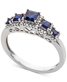 Sapphire (3/4 ct. t.w.) & Diamond (1/6 ct. t.w.) Ring in 14k White Gold (Also Available in Ruby & Emerald)