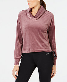 Calvin Klein Performance Velour Side-Tie Cowlneck Top