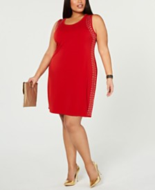 Belldini Plus Size Sleeveless Studded Sheath Dress