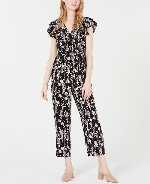 Maison Jules Printed Flutter-Sleeve Jumpsuit, Created for Macy's