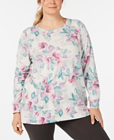 Ideology Plus Size Printed Lattice-Back Top, Created for Macy's