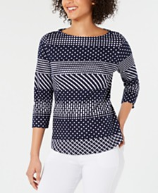 Charter Club Petite Pima Cotton Button-Shoulder Mixed-Print Top, Created for Macy's