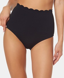 Jessica Simpson Scalloped High-Waist Bikini Bottoms