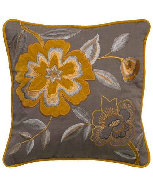 """Rizzy Home Light 18"""" x 18"""" Floral Down Filled Pillow"""