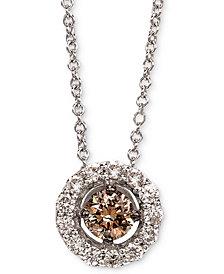 """Le Vian® Diamond Halo 18"""" Pendant Necklace (1/2 ct. t.w.) in 14k White Gold"""