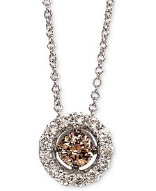 "Le Vian® Diamond Halo 18"" Pendant Necklace (1/2 ct. t.w.) in 14k White Gold"
