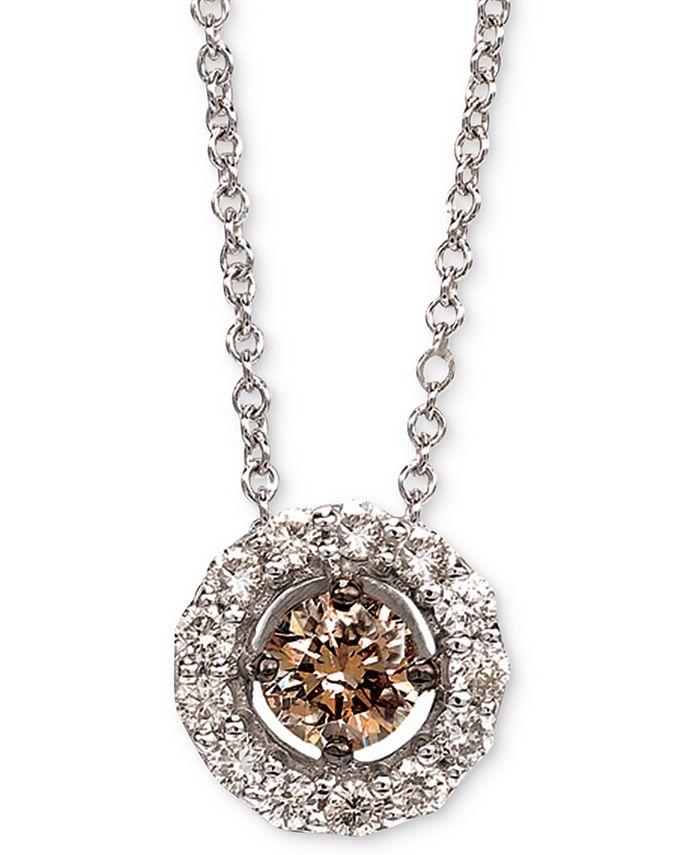"""Le Vian - Diamond Halo 18"""" Pendant Necklace (1/2 ct. t.w.) in 14k White Gold"""