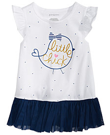 First Impressions Baby Girls Little Chick-Print Peplum T-Shirt, Created for Macy's