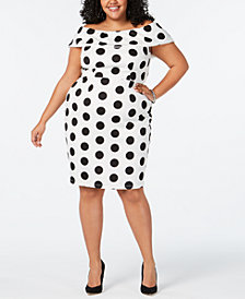 Love Squared Plus Size Moon-Dot Off-The Shoulder Bodycon Dress
