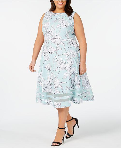 Calvin Klein Plus Size Floral Midi Fit & Flare Dress
