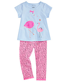 First Impressions Baby Girls Flamingo-Print T-Shirt & Printed Leggings, Created for Macy's