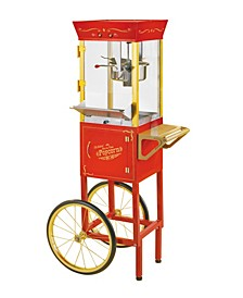 Vintage 6-Ounce Commercial Popcorn Cart - 53 Inches Tall