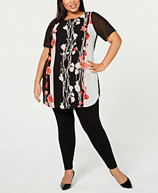 Alfani Plus Size Floral-Print Colorblocked Tunic, Created for Macy's
