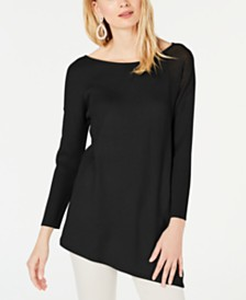 I.N.C. Asymmetric Mixed-Knit Sweater, Created for Macy's