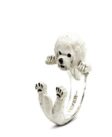 Bichon Frise Hug Ring in Sterling Silver and Enamel