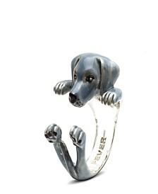 Weimaraner Hug Ring in Sterling Silver and Enamel