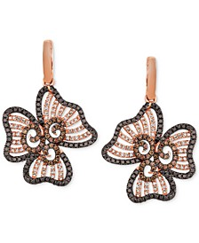 Nude, Blackberry & Chocolate Diamond Flower Drop Earrings (2-3/4 ct. t.w.) in 14k Rose Gold