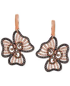 Le Vian® Nude, Blackberry & Chocolate Diamond Flower Drop Earrings (2-3/4 ct. t.w.) in 14k Rose Gold