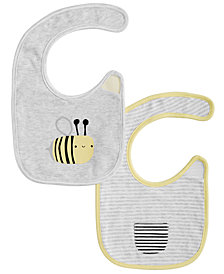 First Impressions Baby Boys & Girls 2-Pk. Reversible Stripes & Bees Bibs, Created for Macy's