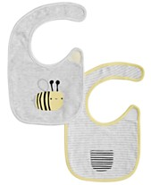 0c1138b5ad First Impressions Baby Boys & Girls 2-Pk. Reversible Stripes & Bees Bibs,
