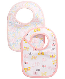 First Impressions Baby Girls 2-Pk. Reversible Flowers & Butterflies Bibs, Created for Macy's