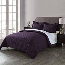 Lotus Home Diamond Stitch Quilt with Stain Resistant Microfiber