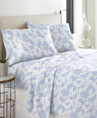 Corsage Celeste Home Ultra Soft Flannel Sheet Set with Pillowcase Queen