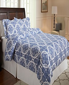Pointehaven Alpine Blue Print Luxury Size Cotton Flannel Duvet Set Full Queen