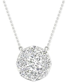 "Diamond Halo Pendant Necklace (1 ct. t.w.) in 14k White Gold, 16"" + 2"" extender"