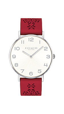COACH Women's Perry Red Leather Cutout Strap Watch 36mm Created for Macy's