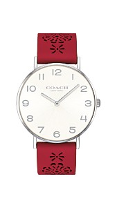 89fdbfbf3bad8 COACH Women s Perry Red Leather Cutout Strap Watch 36mm Created for Macy s