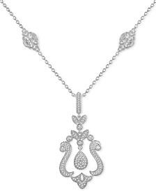 "Diamond (1/4 ct. t.w.) Swirl 18"" Pendant Necklace in Sterling Silver"