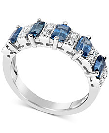 Sapphire (3-1/6 ct. t.w.) & Diamond (1/6 ct. t.w.) Ring in 14k White Gold
