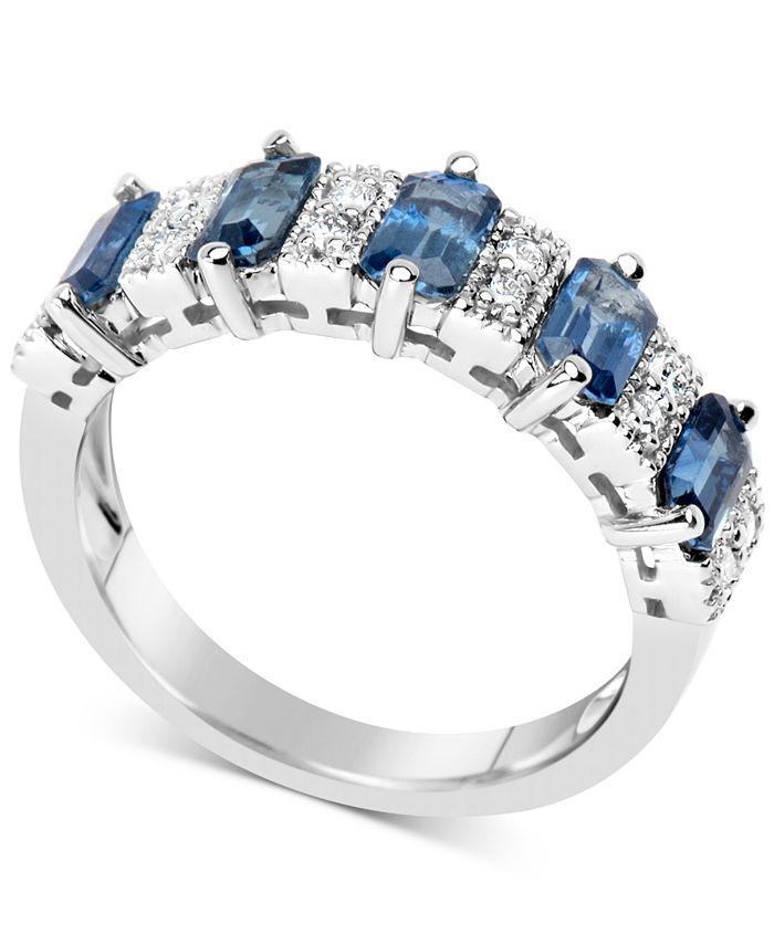 Macy's - Sapphire (3-1/6 ct. t.w.) & Diamond (1/6 ct. t.w.) Ring in 14k White Gold