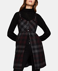 BCBGeneration Cotton Split-Front Plaid Top