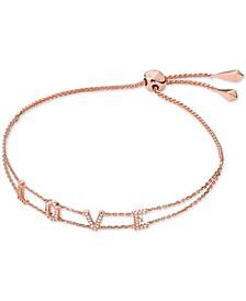 Rose Gold-Tone Sterling Silver Pavé Love Slider Bracelet