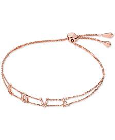 Michael Kors Rose Gold-Tone Sterling Silver Pavé Love Slider Bracelet