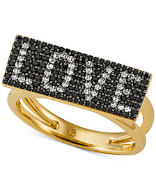 Michael Kors Gold-Tone Sterling Silver Pavé Love Statement Ring