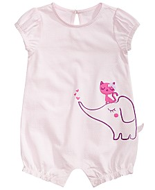 First Impressions Baby Girls Cotton Elephant Romper, Created for Macy's