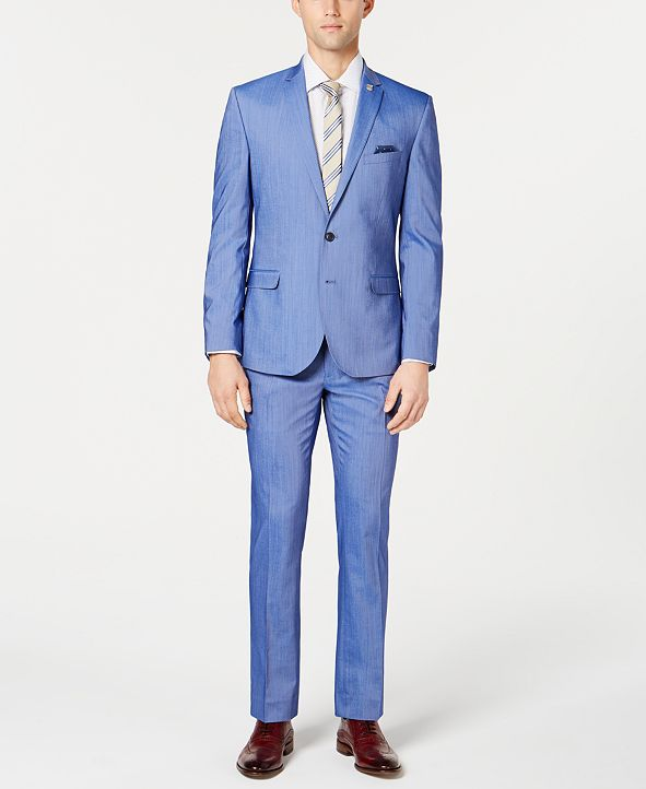 Nick Graham Bright Blue Chambray Solid Slim-Fit Suit