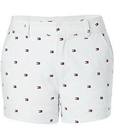 Tommy Hilfiger Big Girls Logo-Print Stretch Twill Shorts