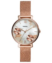 468d846b9106 Fossil Women s Jacqueline Rose Gold-Tone Stainless Steel Mesh Bracelet Watch  36mm