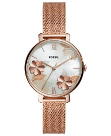 Fossil Women's Jacqueline Rose Gold-Tone Stainless Steel Mesh Bracelet Watch 36mm