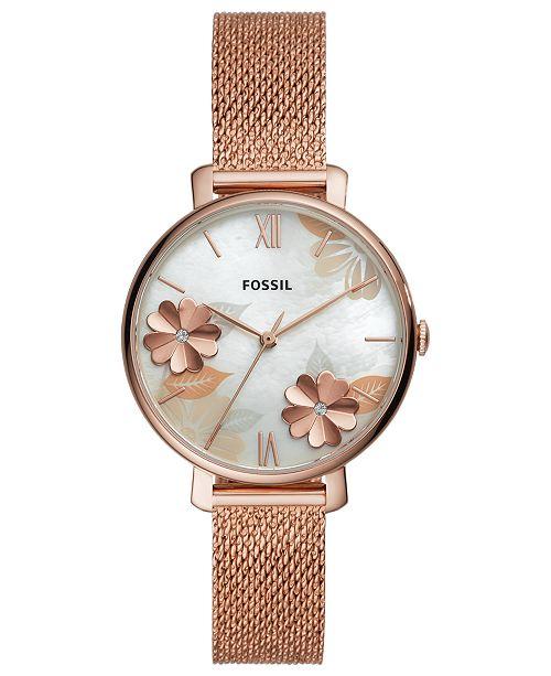 e47d0060589d ... Fossil Women's Jacqueline Rose Gold-Tone Stainless Steel Mesh Bracelet  Watch ...
